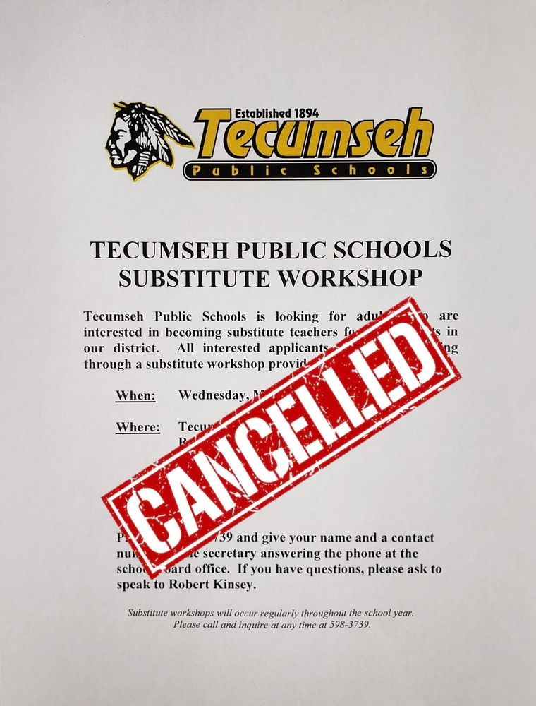 Substitute Workshop Cancelled